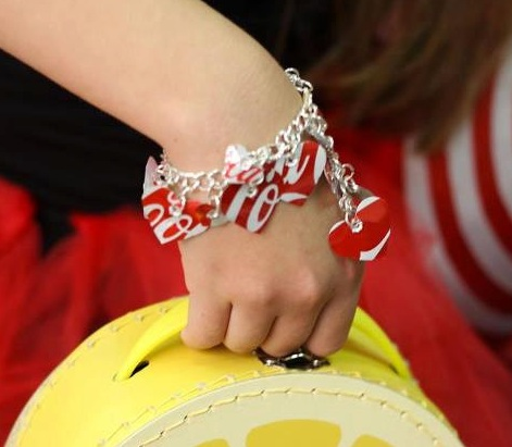 Recycled Coca Cola Can Red Heart Charm Bracelet